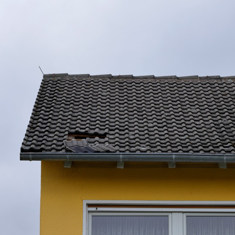 Roof shingles blown off