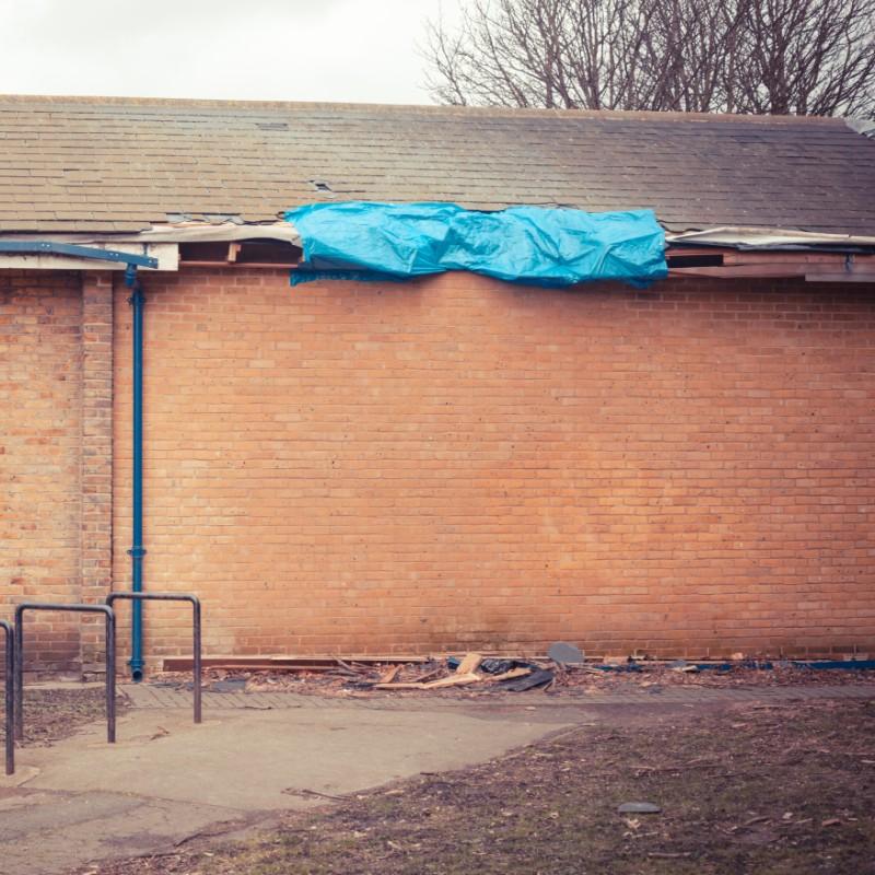 damaged school roof