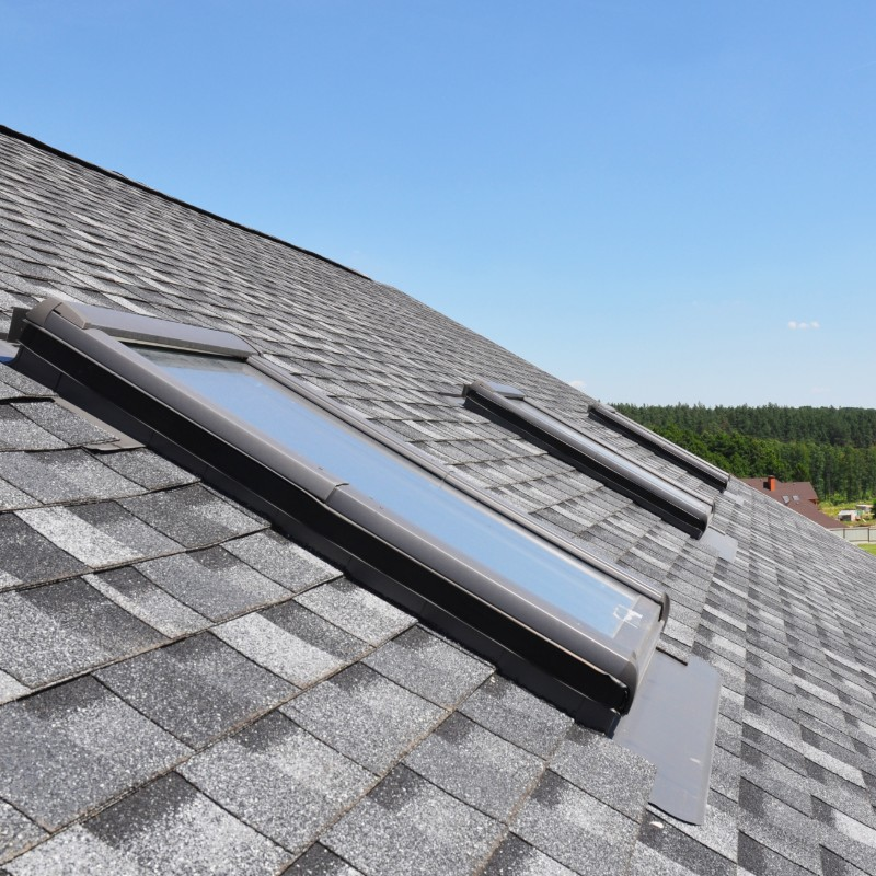 synthetic shingles with skylights