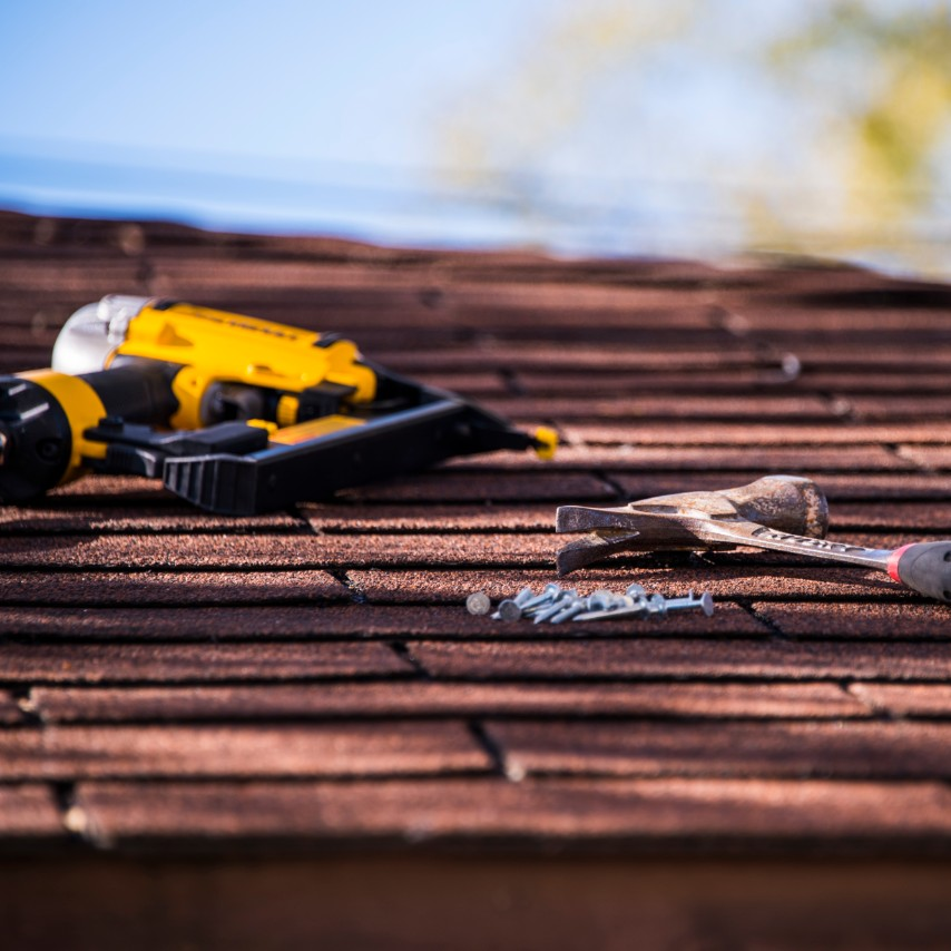 roofer supplies on a roof