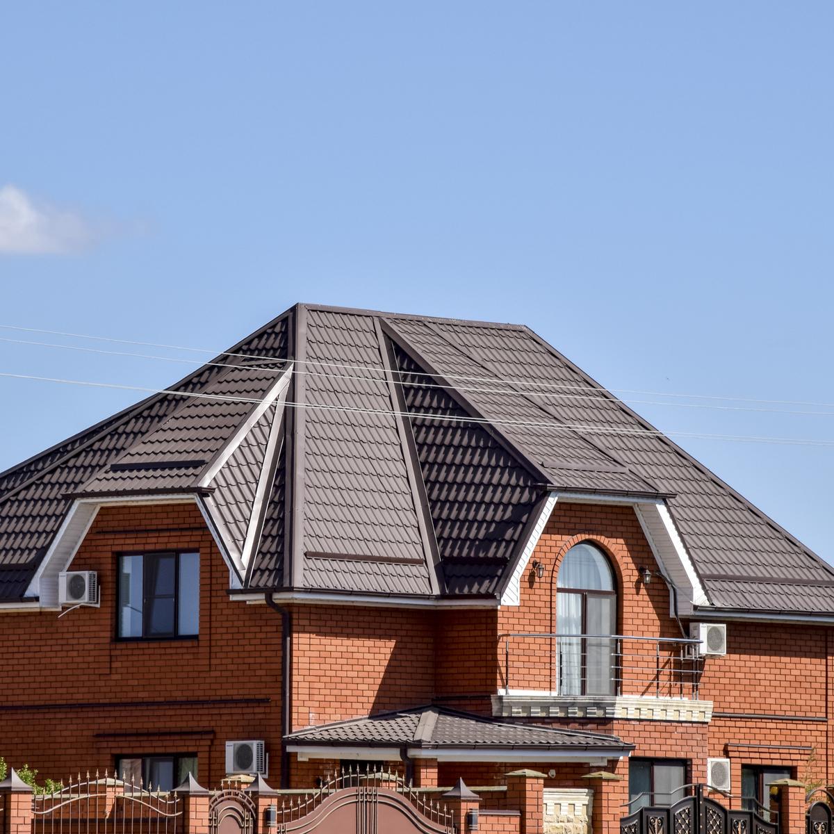 Metal roof on residential building