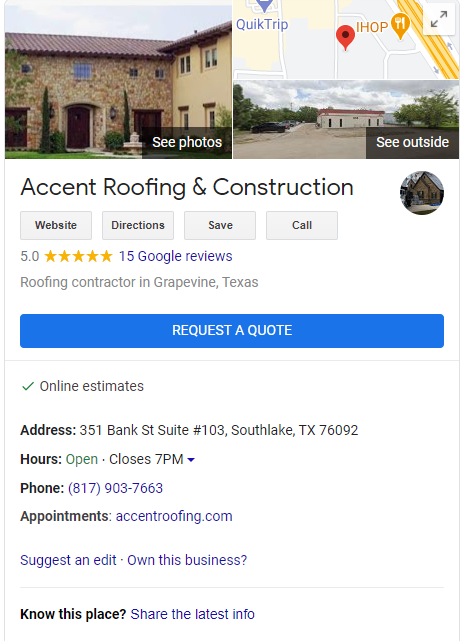 Accent Roofing GMB Profile